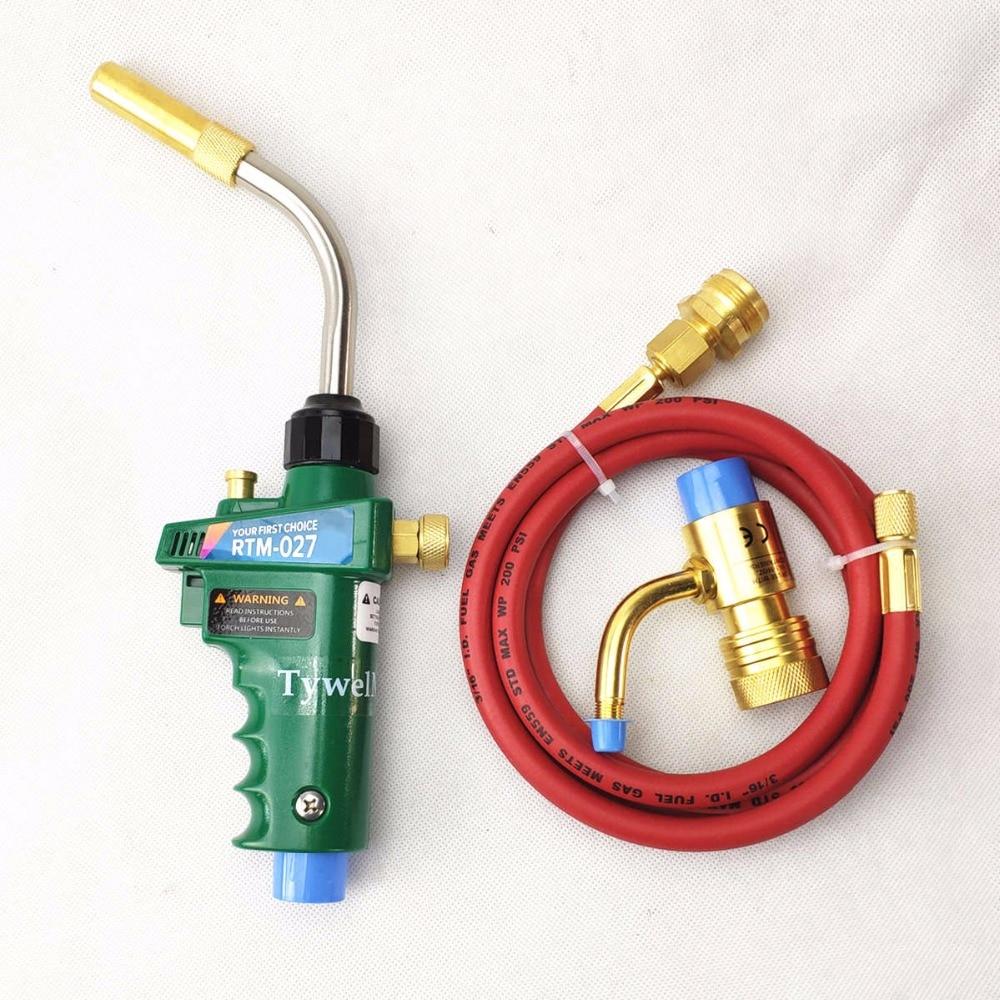 все цены на Gas Welding Torch Self Ignition 1.5m(5ft) Hose Gas Brazing Burner Soldering Quenching BBQ Burner CE HVAC Hand MAPP Torch онлайн