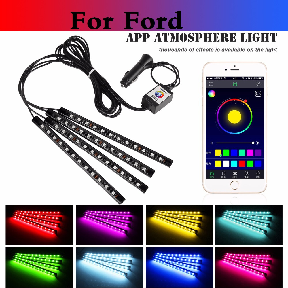 New <font><b>Bluetooth</b></font> Phone APP Control Car Atmosphere Lamp <font><b>Strip</b></font> Light For Ford Fiesta ST Five Hundred Flex Focus RS Focus ST Freestyle