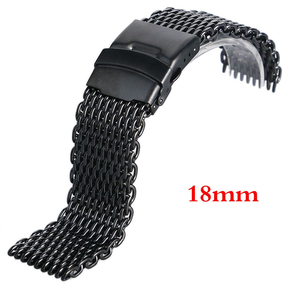 Free Shipping Black 18mm Brand New Stainless-Steel Watch Band Bracelet Strap Watchband for Men Women Watch Replacement Steel