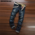 Fashion brand cotton men jeans luxury Men's casual denim trousers hole zipper Slim blue jeans men Hole 2016  C120