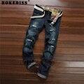Marca de moda de algodón pantalones vaqueros de los hombres de lujo ocasionales de Los Hombres pantalones de mezclilla agujero cremallera Delgado blue jeans hombres Agujero 2016 C120