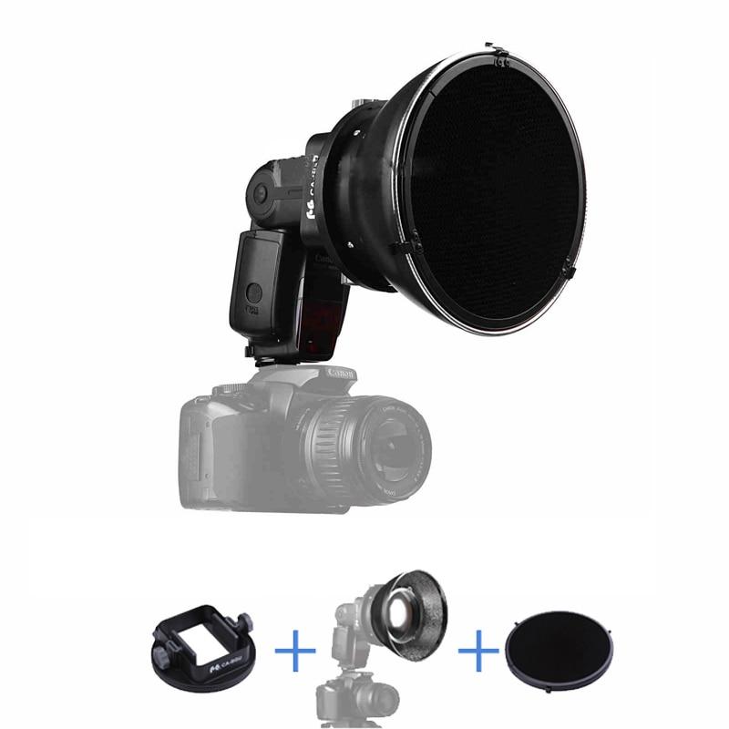 Standard Flash Reflector + HoneyComb Grid + Universal Flash Adapter Mount CA-SGU  for Canon Nikon Sony Yongnuo Pentax Speedlite 4 in 1 universal flash reflector