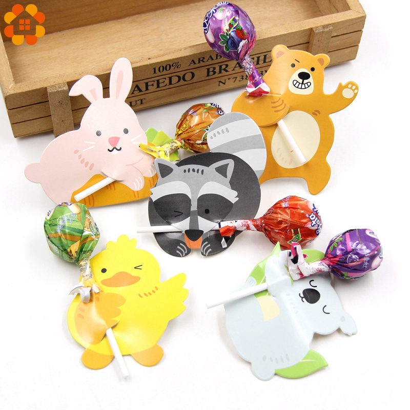 50PCS Cute Animal Rabbit Duck Bear Candy Lollipop Decoration Card Wedding Kids Birthday Party Candy Gift Accessories Supplies
