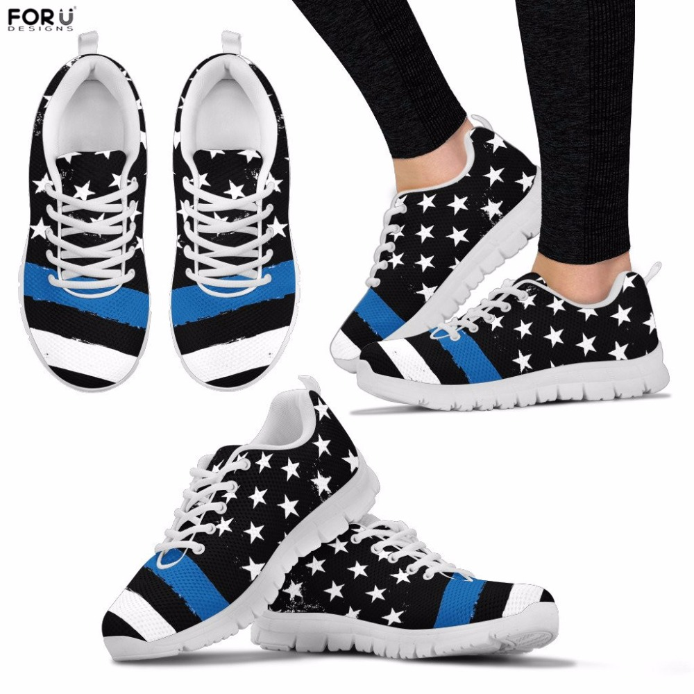 FORUDESIGNS Women Shoes Thin Blue Line Sneakers Ladies Casual Walking Shoes Breathable Flats for Teenager Girls Lace-up Sapatos instantarts women flats emoji face smile pattern summer air mesh beach flat shoes for youth girls mujer casual light sneakers