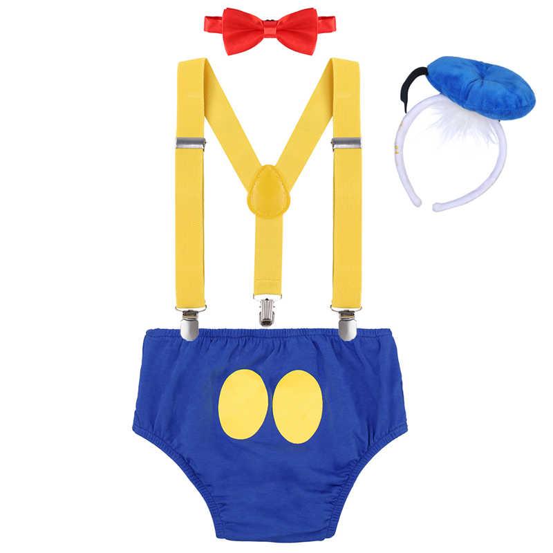 Ropa de bebé para sesión de fotos lindo bebé niño niña traje de fiesta de cumpleaños pantalones con tirantes Diadema con corbata 4 Uds conjunto con pasteles de bebé Smash