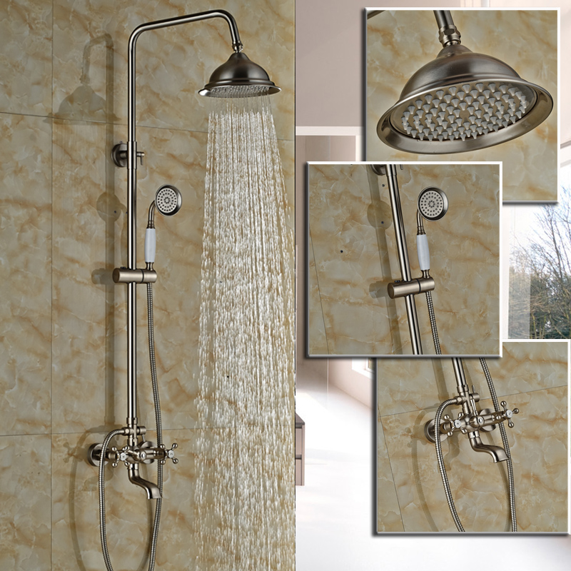 Brushed Nickel Bathroom Dual Handle Rainfall Shower Faucet Set Wall