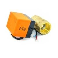 AC220V electric actuator brass ball valve,Cold&hot water/Water vapor/heat gas 2 way Brass Motorized Ball Valve DN20 G3/4