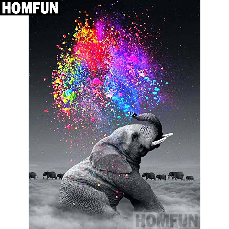HOMFUN Full Square/Round Drill 5D DIY Diamond Painting Elephant color Embroidery Cross Stitch 5D Home Decor Gift A02418 image