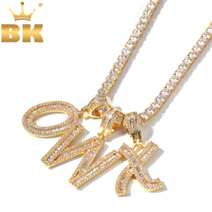 Image 1 - THE BLING KING English Initials Baguette Letters Necklace Pendant Wirh 4mm Cubic Zirconia Tennis Chains Fashion Hiphop Jewelry
