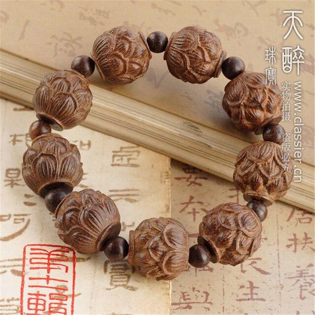 Partido beads antiguo budismo Lotus tallado de madera rayo brazalete fecha de madera 8 '' budista brazalete para hombre de la joyería incienso
