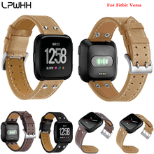 LPWHH Rivet Watch Belt For Fitbit Versa Smart Watches Cow Genuine Leather Watchband Soft Comfortable Metal Buckle Strap Wrist