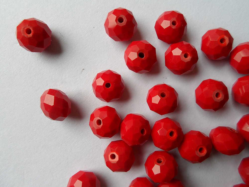 ジュエリー工場卸売10ミリメートルセラミック赤無地クリスタルビーズ、繊細なセラミック赤無地10ミリメートルクリスタルビーズ