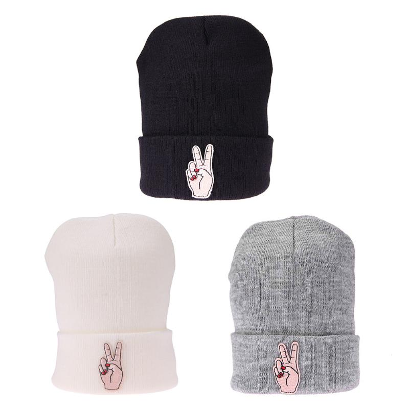 Women Knitted Winter Caps Casual Embroidery Harajuku Fashion Beanies Solid Hip-hop Hat Finger Skullies Beanie Hats Gorro Piles men s skullies winter wool knitted hat outdoor warm casual solid caps for men caps hats
