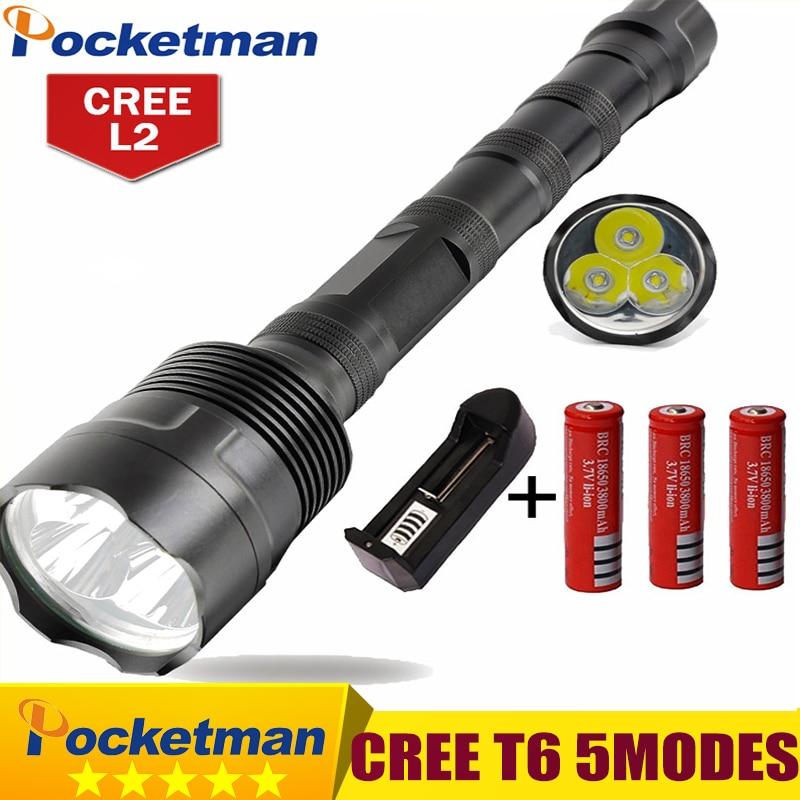 LED Flashlight 8000 Lumens 3*XML T6 5 Modes Extendable Led flashlight 3*CREE LED Torch Light Lanterna for 18650
