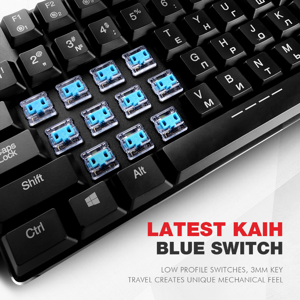 HAVIT Mechanical Keyboard 87 Keys Ultra Low Axis Extra-Thin Mini Gaming Keyboard Blue Switche for PC/Laptop HV-KB390L(Russian)