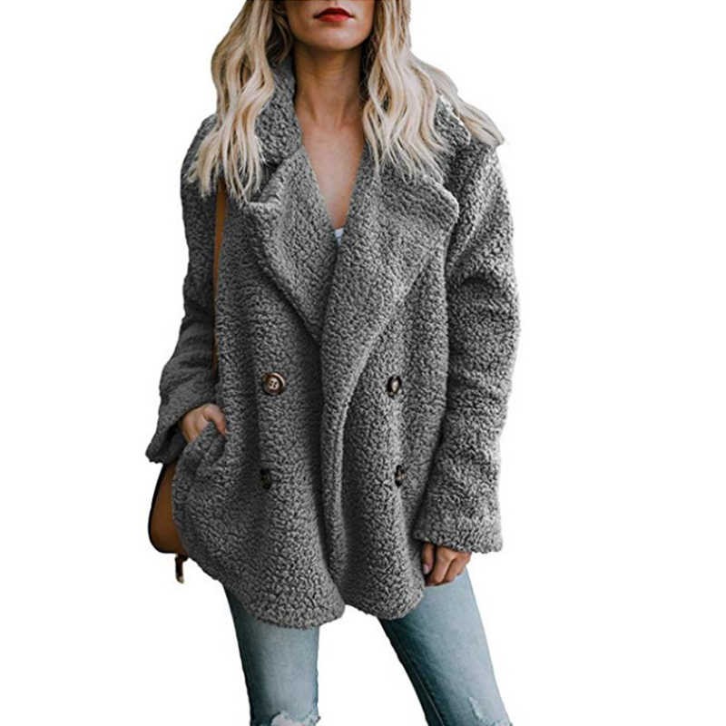f22999de247 2018 Autumn Winter Women s Jackets Faux Fur Coat Plush Clothing Button  Lapel Collar Pockets Women s Jackets