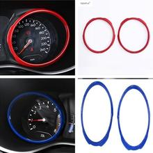 Lapetus Accessories For Jeep Compass 2017 2018 2019 ABS Red / Blue Dashboard Instrument Frame Screen Ring Molding Cover Kit Trim