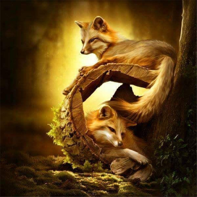 DIY 5d diamond painting cross stitch kits animal home Decor Full square diamond embroidery fox picture Handmade mosaic painting