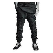 Привет Улица Черный Мужские Jogger Брюки Мода Уничтожено Ripped Карандаш Брюки Z1204