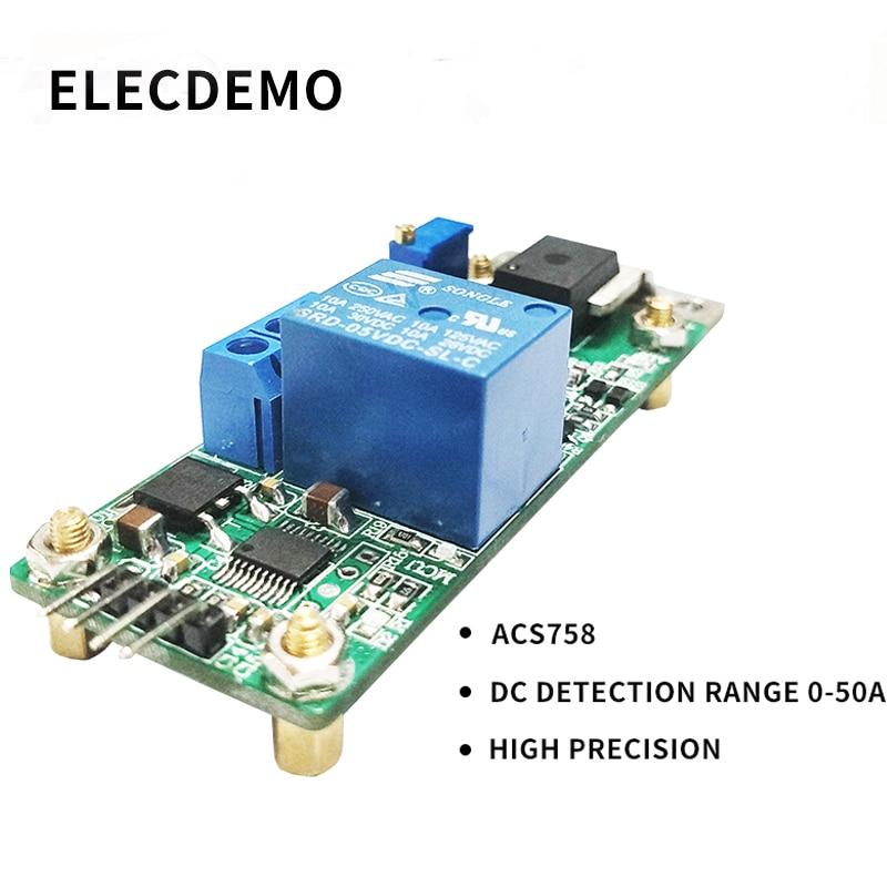 ACS758 Module DC Current Sense Module 0 50A Hall Current Sensor Module High Precision 0.1A-in Demo Board Accessories from Computer & Office