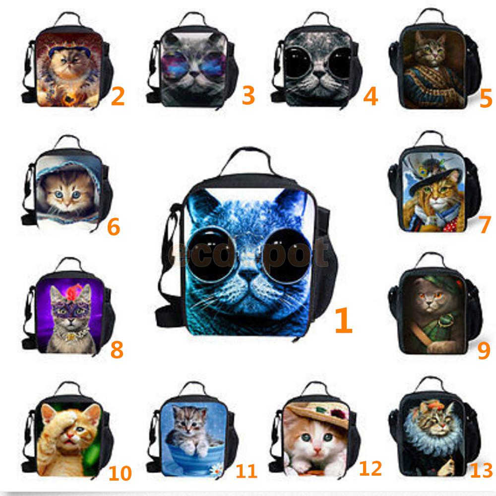 Cute Cat Thermal Insulated Picnic Lunch Bags Kids Lunch Box Container Bag 13 Types