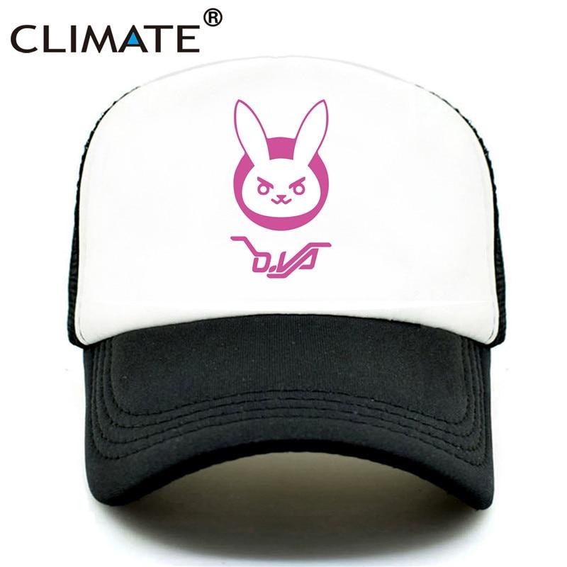 bec8b7db0 CLIMATE DVA Trucker Cap D.VA Pink Cap Hat Hot Game Lovely Cute Coser Summer  Mesh Cap Women Girls Cosplay Rabbit Mesh Hat Caps