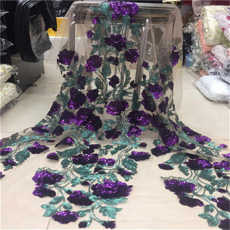 Wholesale Price High Quality Sequins Lace Fabric Embroidery Tulle Lace Trim Party Dress For African Lace Fabric green Purple