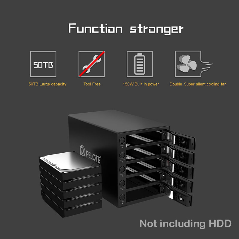 Aluminum 5 bay 3 5 Inch Hard Drive Enclosure Support 50TB storage USB3 0 UASP HDD Docking Station Tool Free With five switches in Computer Cables Connectors from Computer Office
