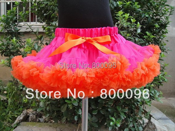 2015 Tutu Girl Skirts of Girls Pettiskirt with Orange Bow  Hot Pink Tutu Skirt PETS-059