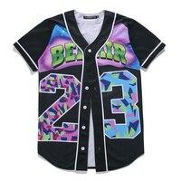 جديد كبير ترويج الرجال الأسود رقم 23 طباعة أزياء تي شيرت قصير الأكمام o-الرقبة التمويه البيسبول جيرسي مجانية مجانا