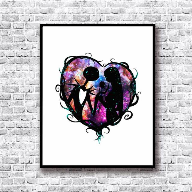 the nightmare before christmas jack and sally watercolor art print nursery painting girl kids bedroom decor