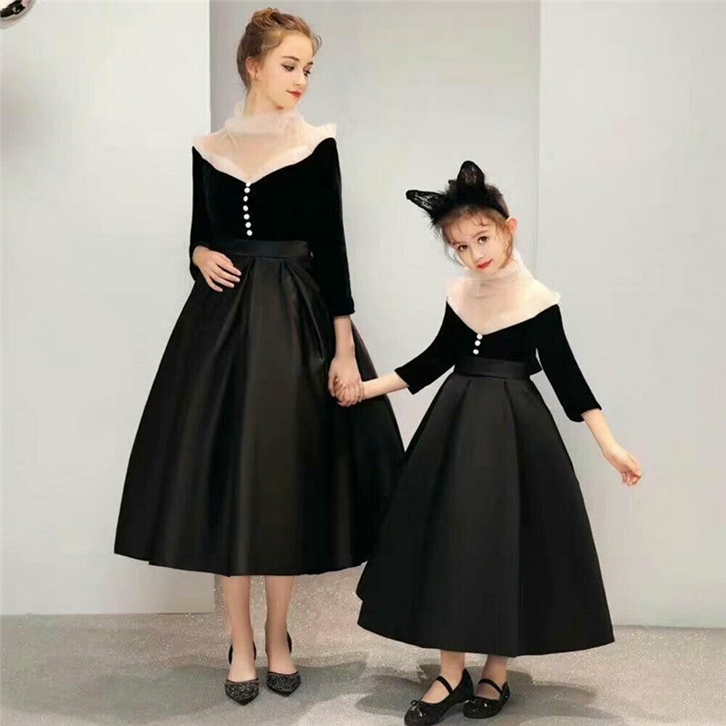 HOT mère et fille correspondant robes de princesse tenues femmes filles robe de bal formelle robe Parent-enfant vêtements robes de fête
