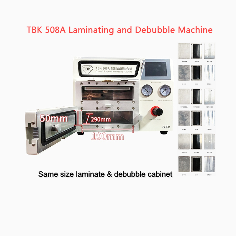 TBK508A Flat Curved Screen Laminating And Debubble Machine LCD Edge   All In 1 For Samsung IPhone IPAD