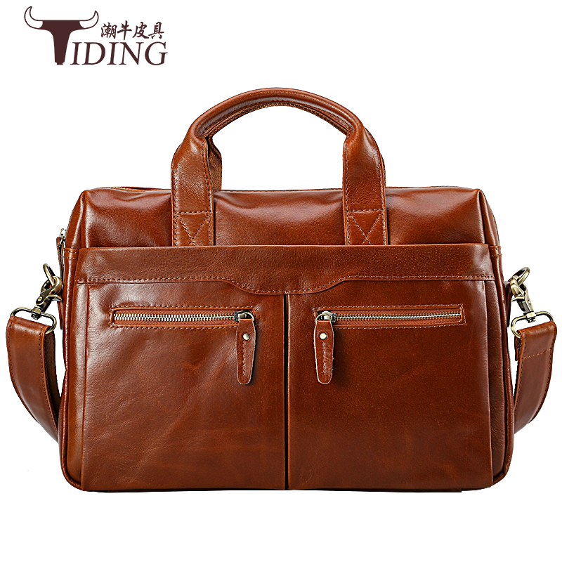 cow leather handbags for man 2017 new european man vintage brown large solid color causal business dress laotop handbags leather