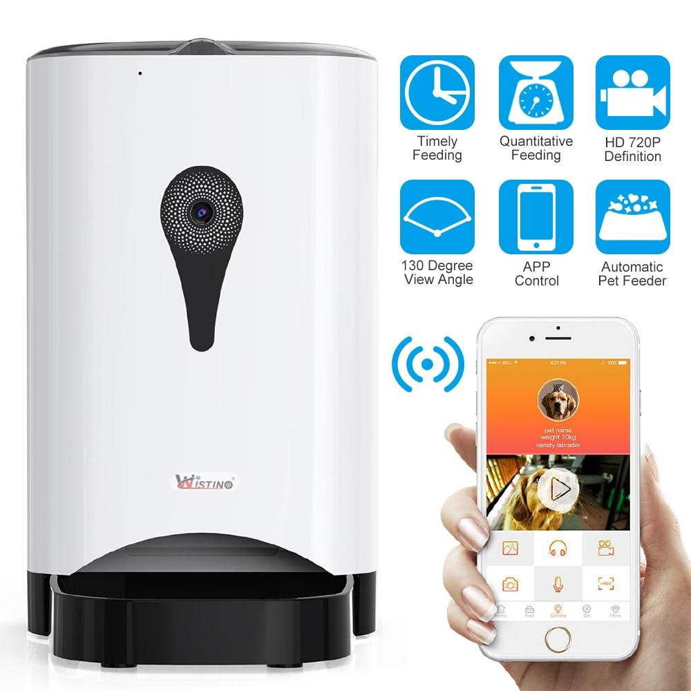 Wistino 720 P WiFi cameraautomatique mangeoire pour animal domestique distributeur d'aliments pour chien chat enregistrement Wifi avec chargeur de contrôle de téléphone sans fil