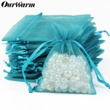 hot deal buy ourwarm 50pcs wedding gift organza bag jewelry packaging display & jewelry pouches 12 color dropship wholesale 7x9 10x15 13x18cm