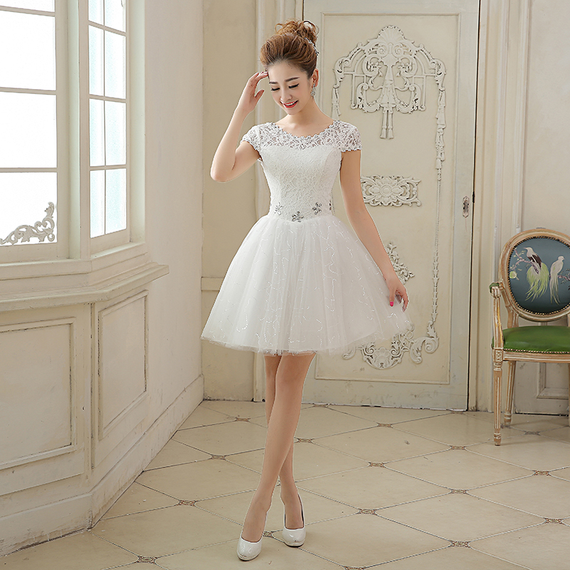 2016 New Lace Evening Dresses Elegant A-Line Cap Sleeves Bride Gown Ball Prom Party Homecoming/Graduation White Formal Dress