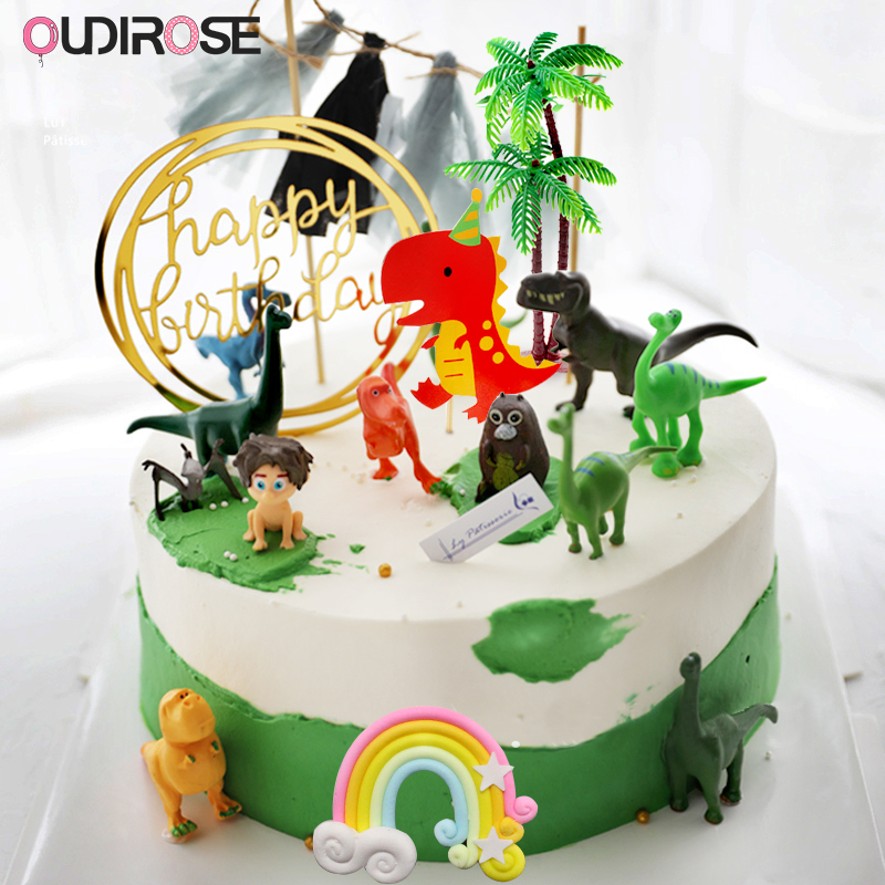 Peachy Dinosaur Party Forest Theme Cake Topper Happy Birthday Cake Top Funny Birthday Cards Online Alyptdamsfinfo