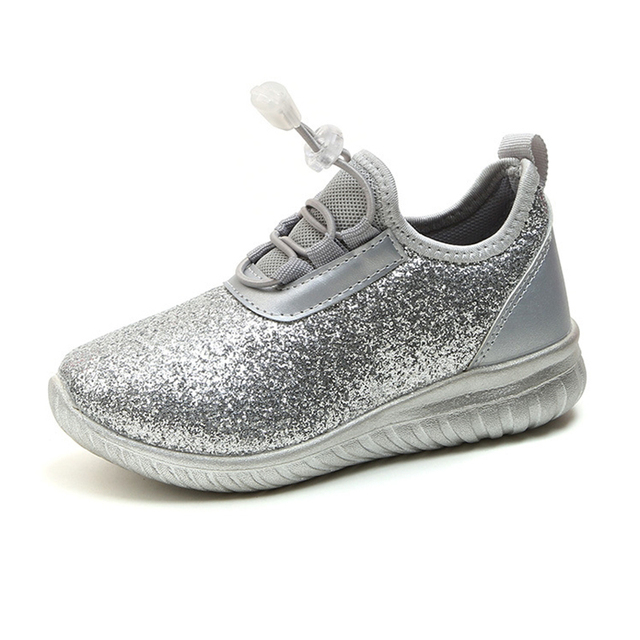 COZULMA Spring Summer Kids Sneakers Boys Girls Lace-up Breathable Sneaker  Silver Gold Fashion Children Soft Bottom Running Shoes 3115cae697de