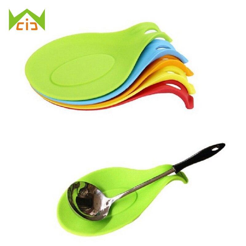 WCIC Kitchen Heat Resistant Silicone Spoon Rest Utensil Spatula Fork Chosticks Scoop Holder Kitchen Accessories