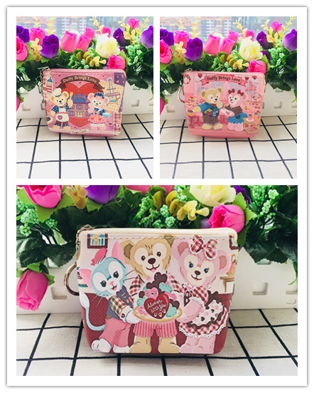 IVYYE 1PCS Duffy Rabbit Mickey Anime PU Coin Purse Cartoon Soft Change Bags Coins  Wallet Card Key Storage Gift