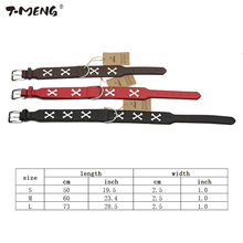 T-MENG Luminous Collar For Dogs Adjustable PU Leather Durable Cross Style Night Glowing Dog Collar Light Pet Product Accessories