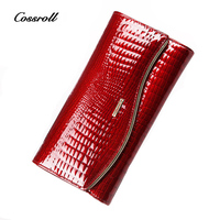 Cossroll Luxury Brand Women Wallets Genuine Leather Coin Purse Clutch Famous Brand Long Womens Purses Real