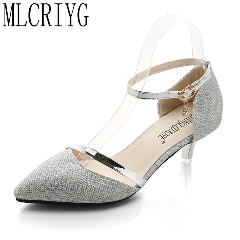Size 34 39 2019 New Spring Women Mature Pumps Shining Gold Silver Shoes Woman Ankle -3260