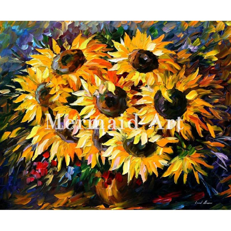 Hand Painted Sunny Bouquet Floral Landscape Abstract Palette font b Knife b font Modern Oil Painting