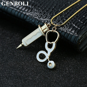 GENBOLI Alloy Medical Stethoscope Charm Syringe Pendant Necklace Collar Chain Women Jewelry For Cosplay Nurses