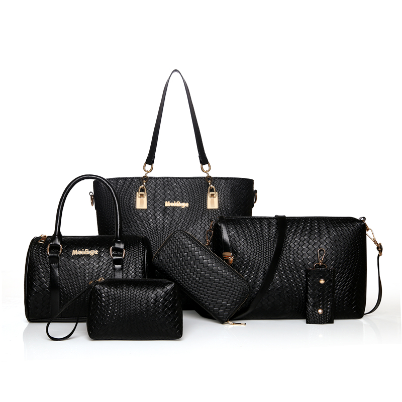 744ff01480ee2 Women Leather Handbag Messenger Composite Bags 6 Sets Ladies Designer  Handbags Famous Brands Fashion Bag For Female Bag 4546-in Top-Handle Bags  from Luggage ...