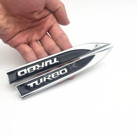 diy car 2pcs/set Metal TURBO Turbocharged Car sticker Logo Emblem Badge Decals Car Styling DIY Decoration Accessories for Frod Bmw Ford (3)