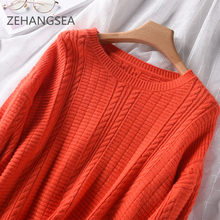 women's casual round neck loose sleeve sweater female solid color sweater retro plaid simple fashion cashmere s(China)