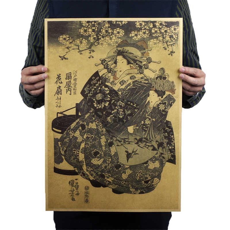1 Thanh Cafe Tranh Trang Trí Retro Nhật Bản Trấn Ukiyoe Geisha Vintage Kraft Poster